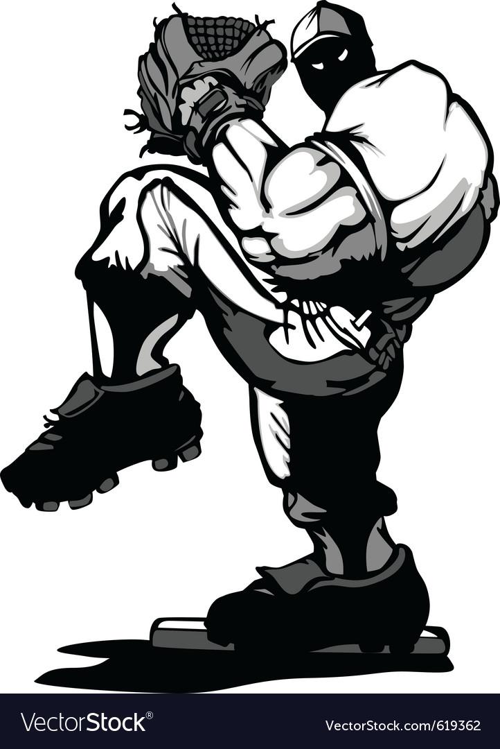 Baseball player pitcher cartoon