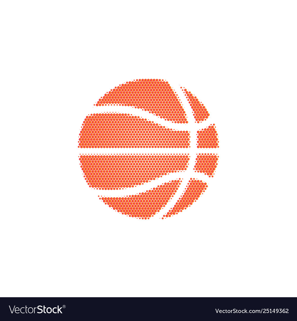 Basketball ball halftone on a white background
