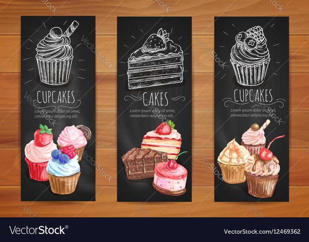 Cake Cupcake Fruit Dessert Menu Posters Design Vector Image