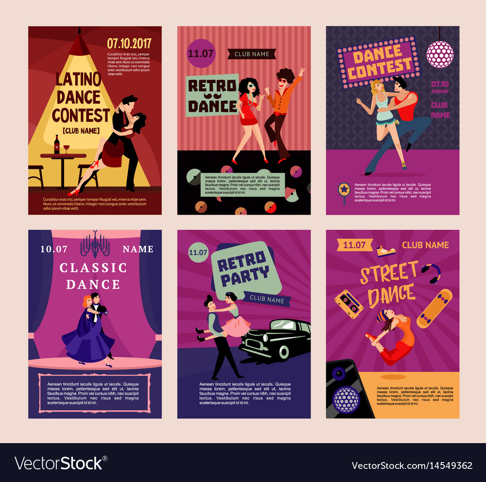 Colorful dancing people posters vector image
