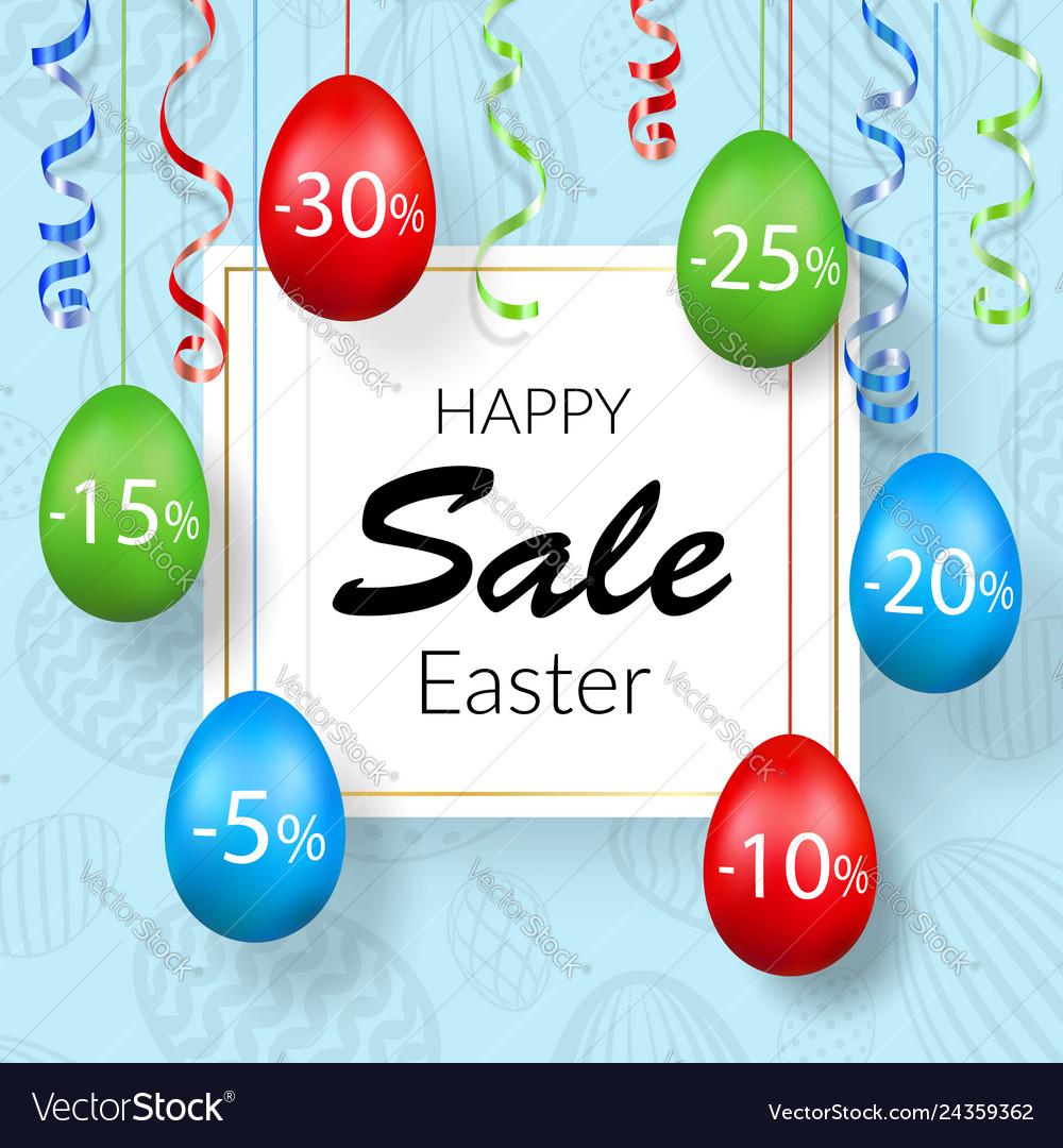 Easter sale banner hanging 3d easter eggs