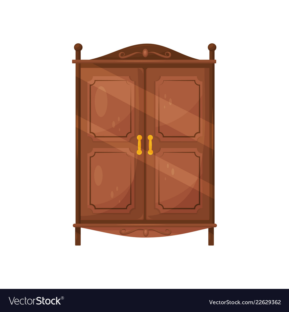 Flat Icon Of Vintage Wooden Cabinet With