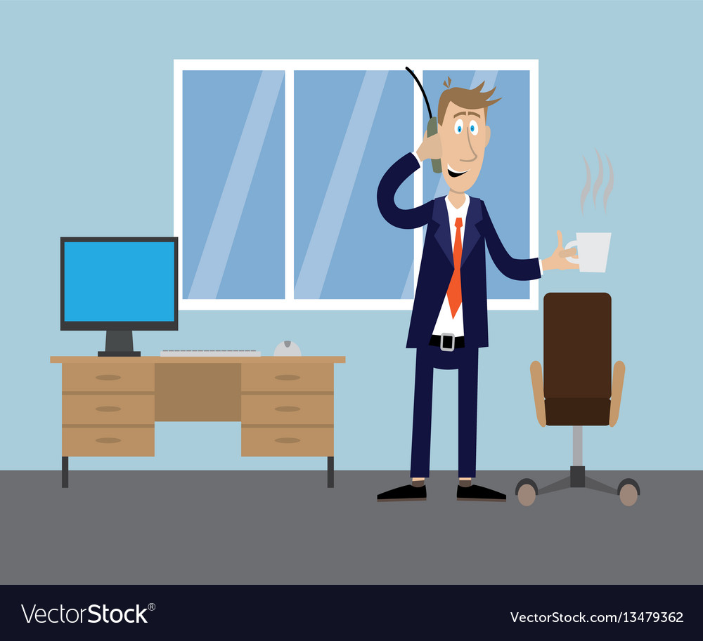 Man in office drinking coffee vector image