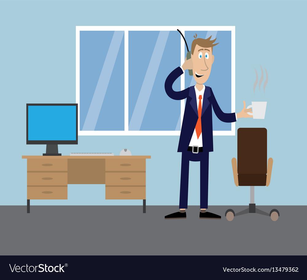 Man in office drinking coffee