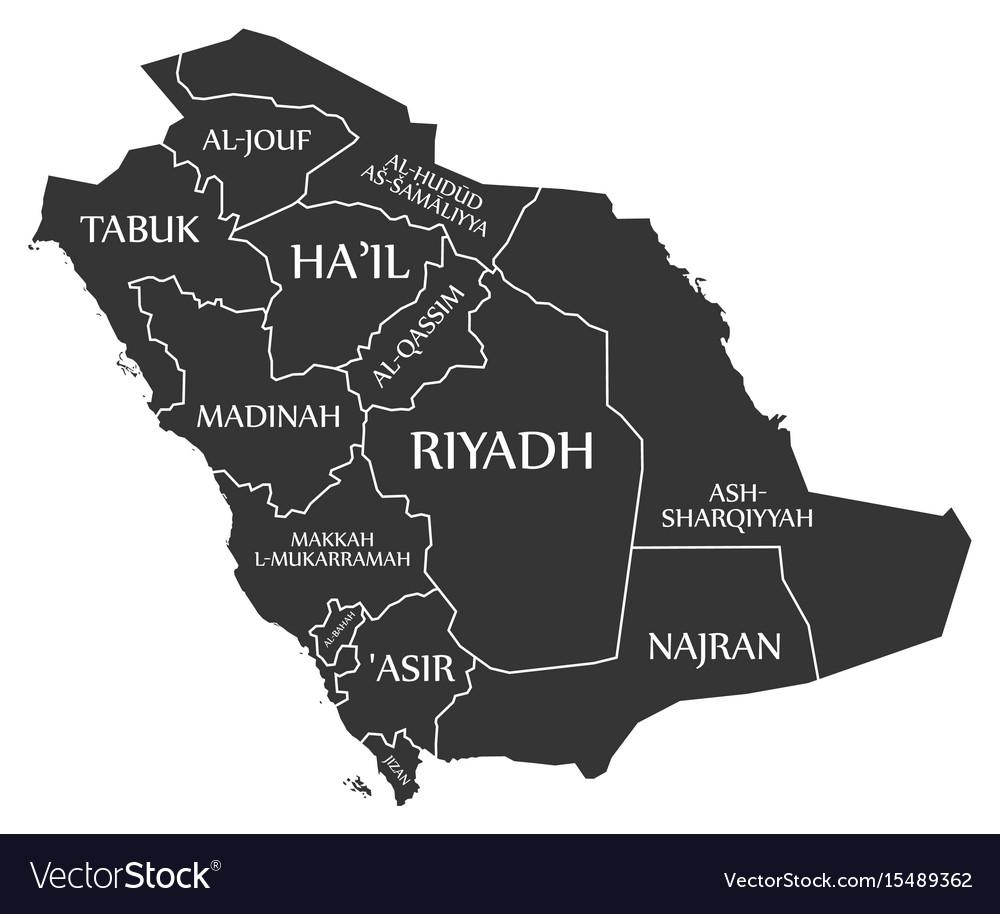 Saudi arabia map labelled black Royalty Free Vector Image