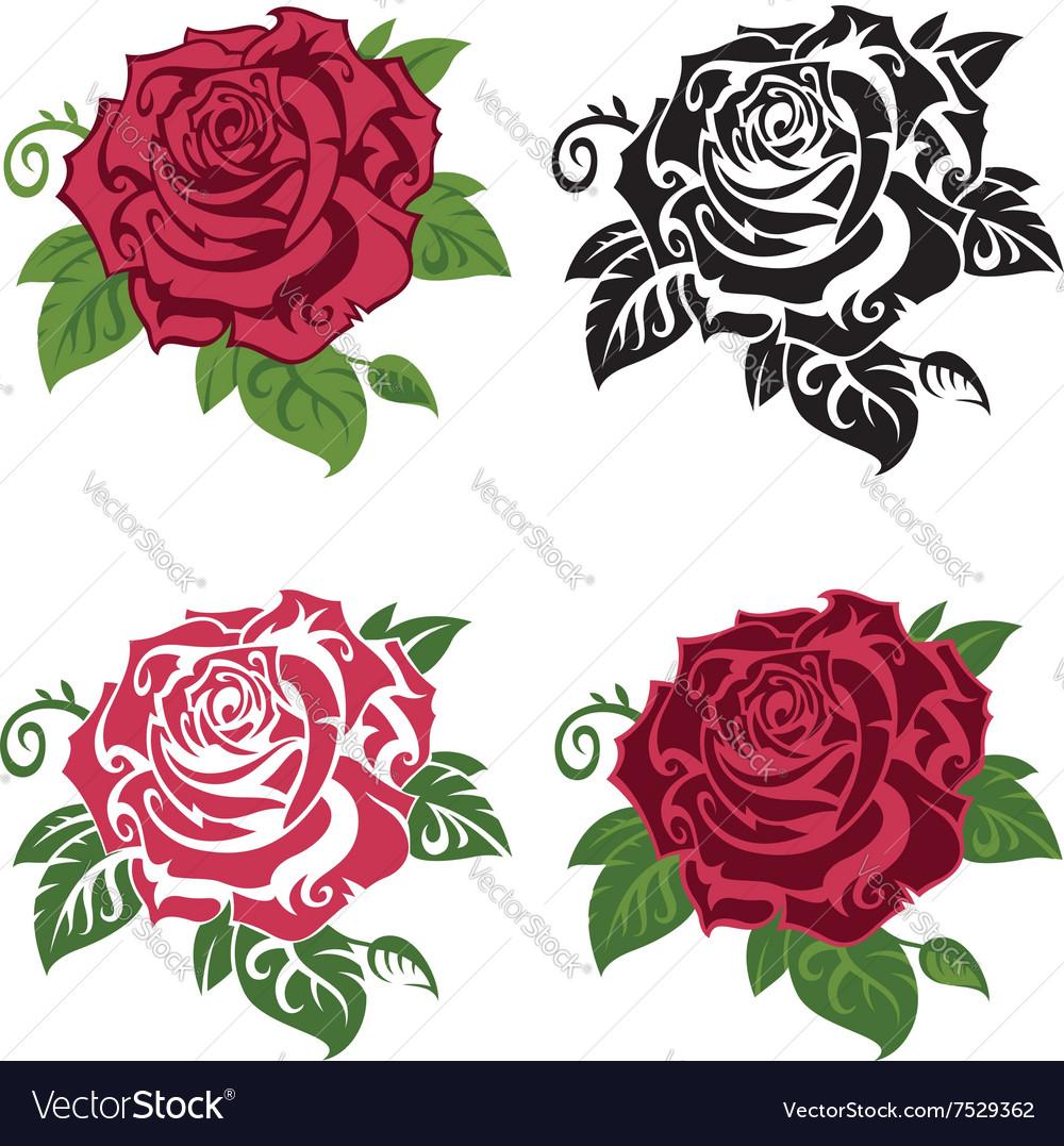 Set multicolored roses