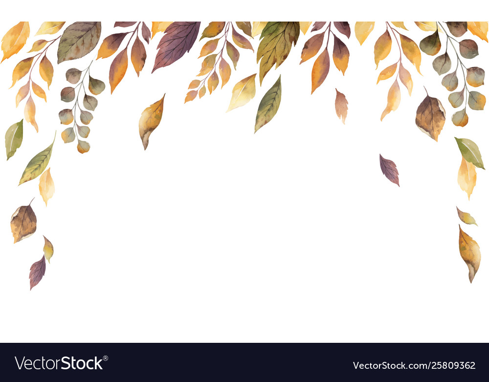 Watercolor autumn card with fallen leaves