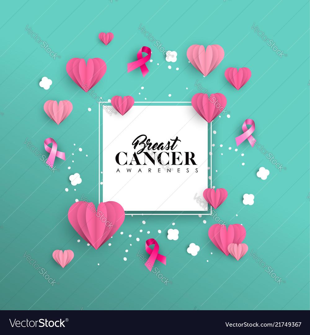 Breast cancer awareness paper cut heart shape card