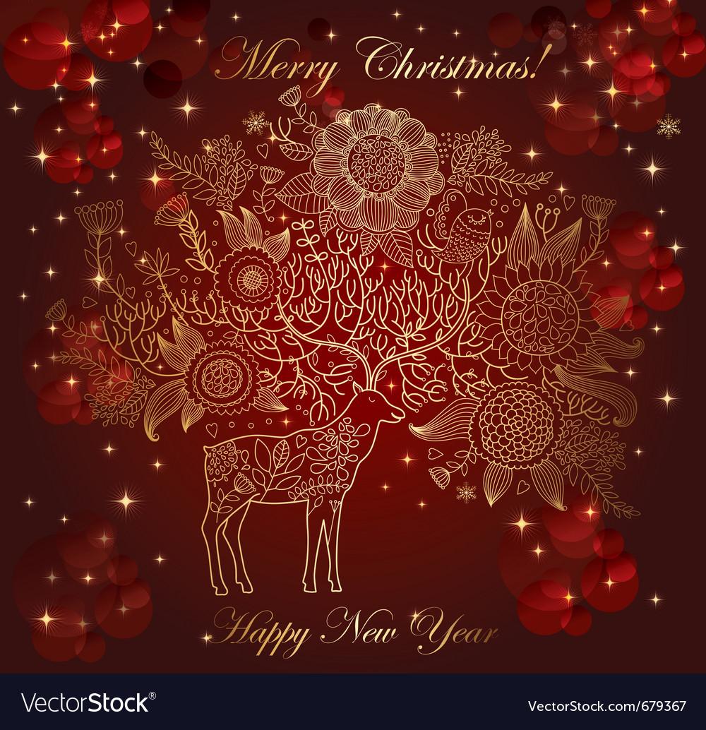 Christmas with deer vector image