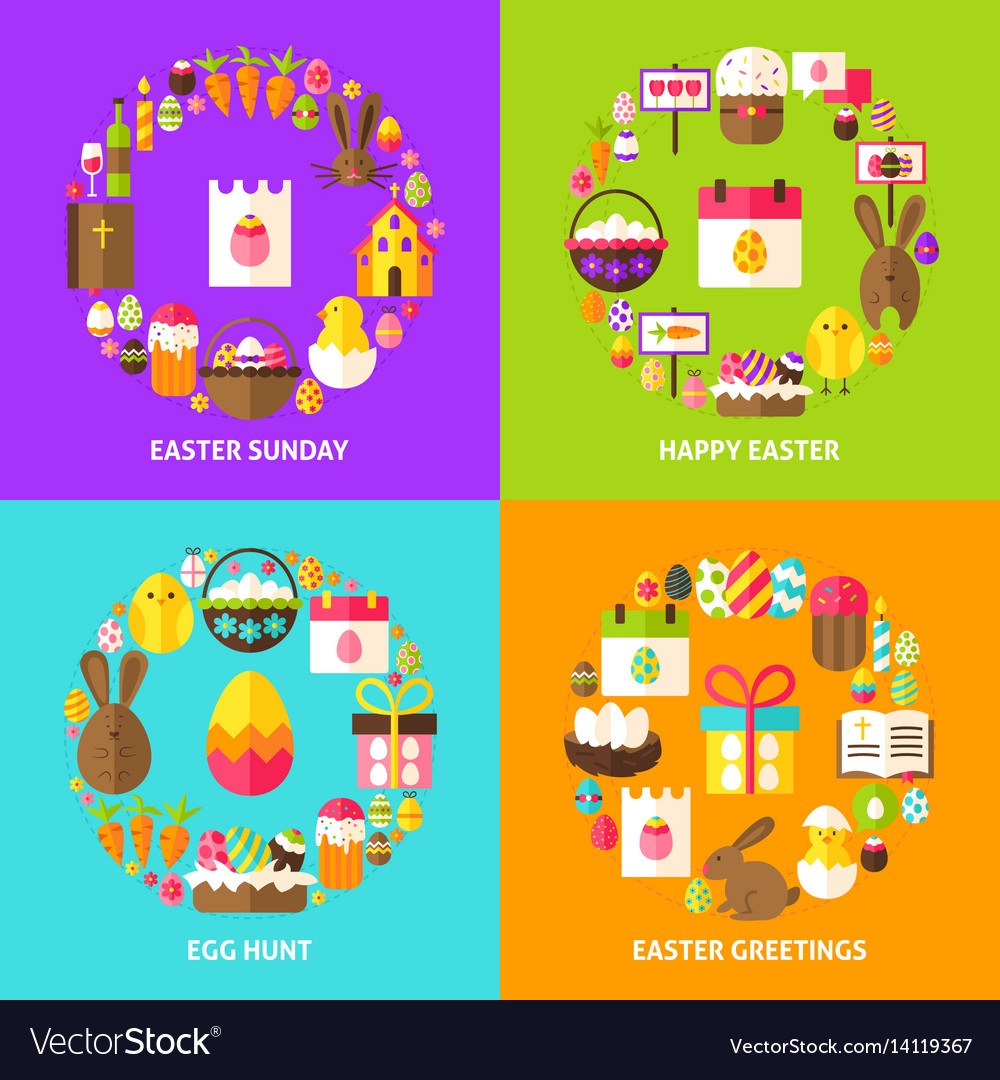 Easter holiday concepts set vector image