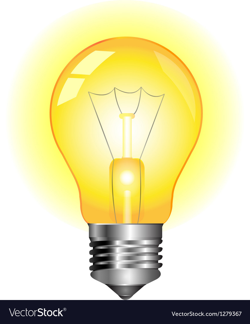 Glowing yellow light bulb Royalty Free Vector Image for glowing cfl bulb  55jwn