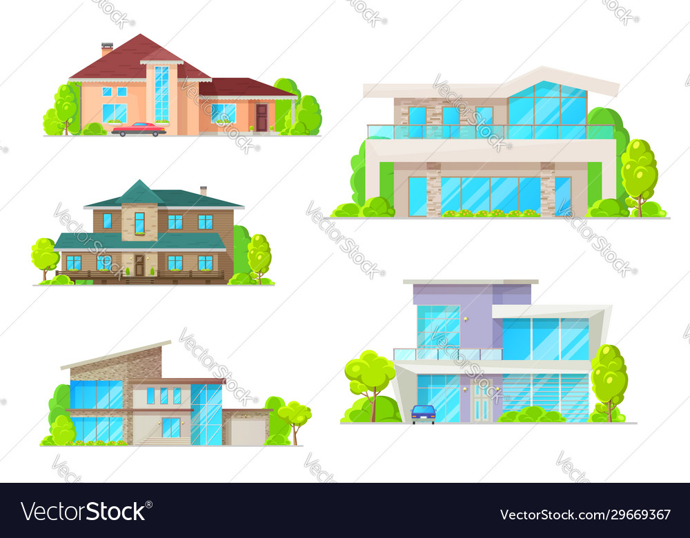 Real estate houses and cottage buildings