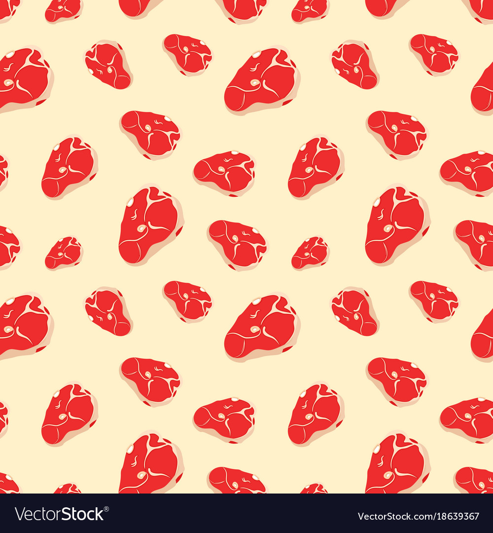 Seamless pattern with meat