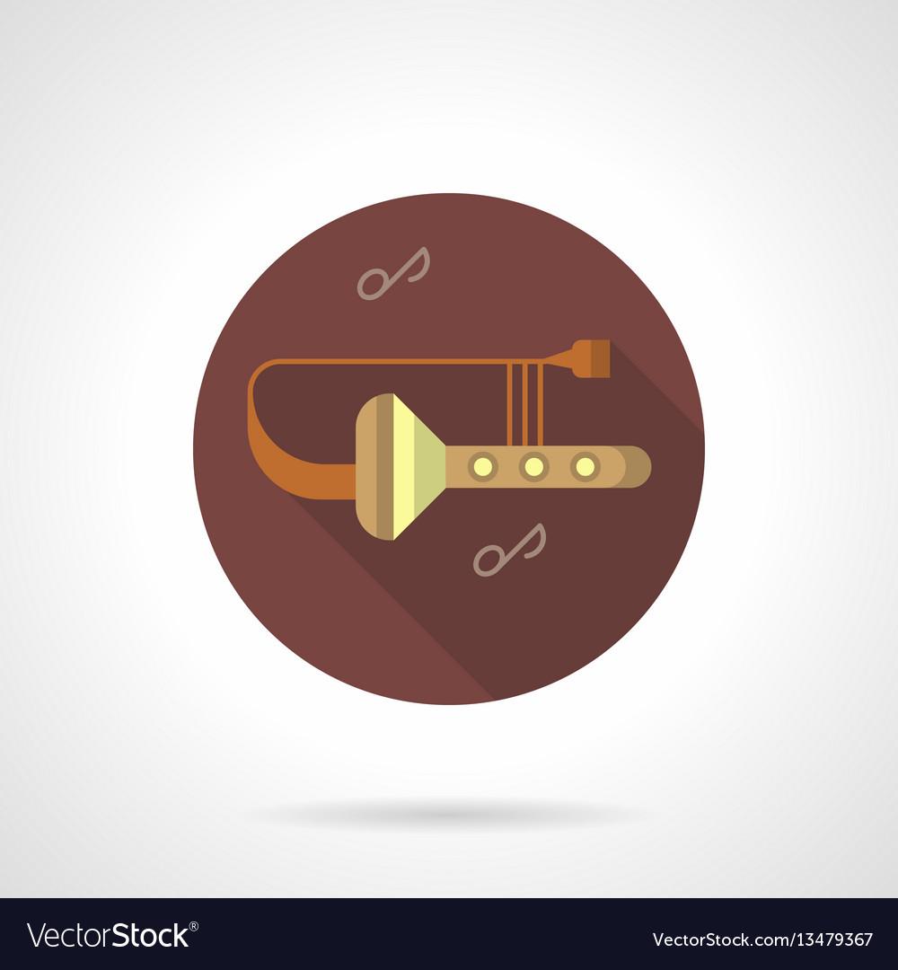 Trombone tunes flat brown round icon vector image
