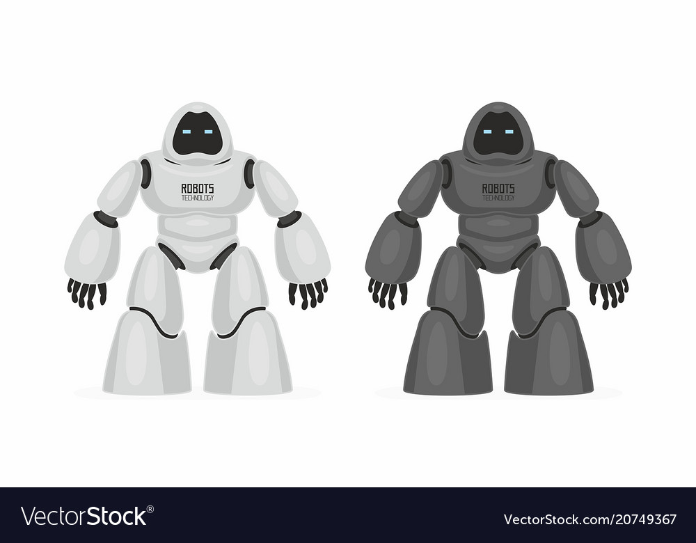 Two robots white and black