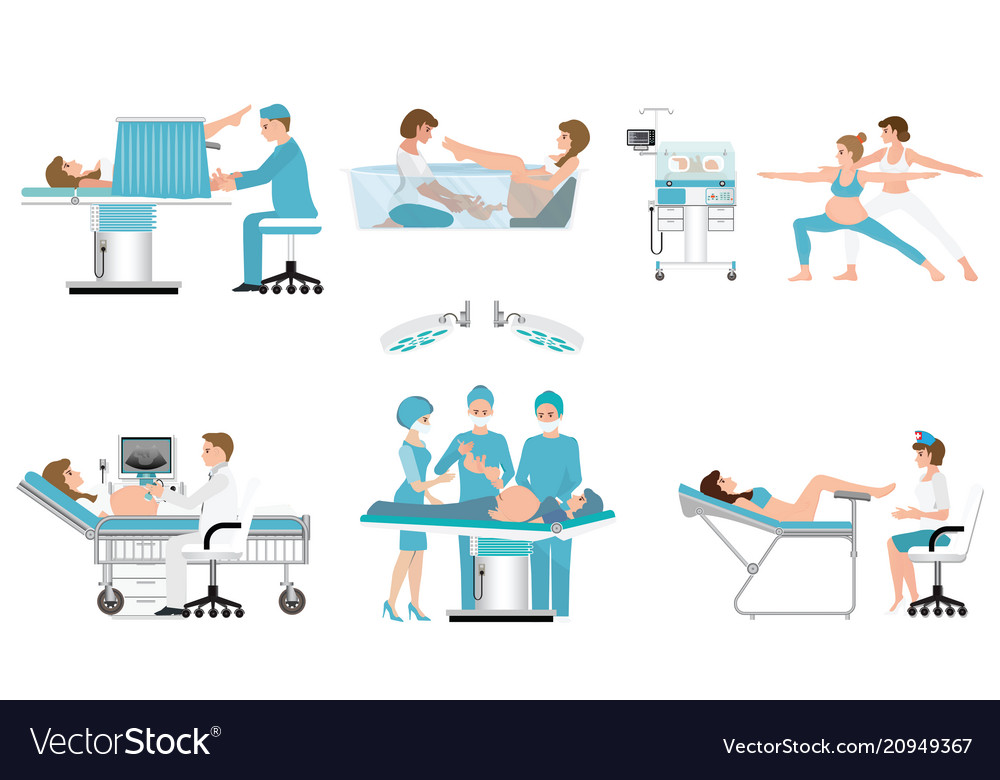 Various birthing of pregnant woman isolated on