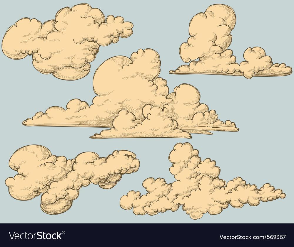 Vintage clouds vector image