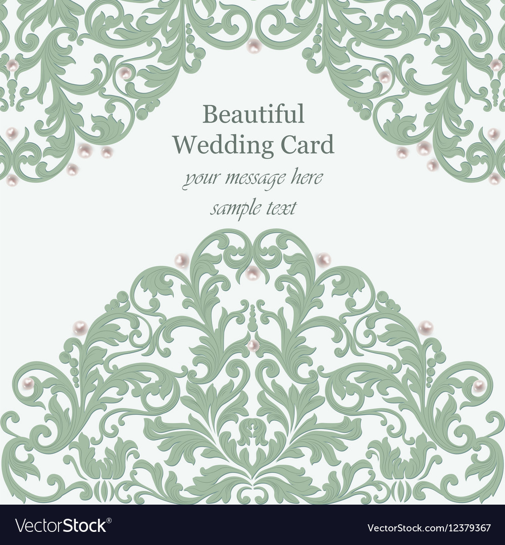 Wedding Invitation card pearls delicate lace vector image