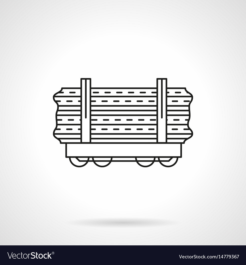 Wood rail freights flat line icon