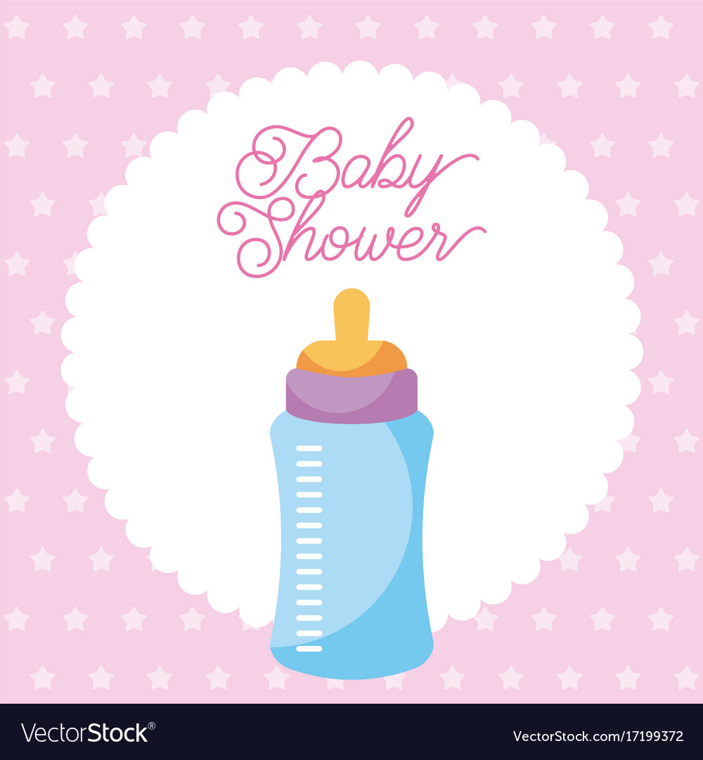 Baby shower invitation with baby bottle card dots vector image filmwisefo