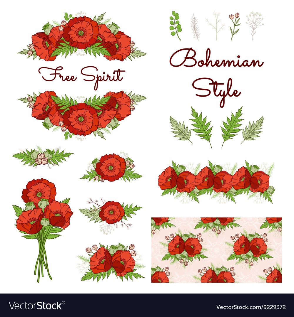 Bohemian style collection with poppies Royalty Free Vector