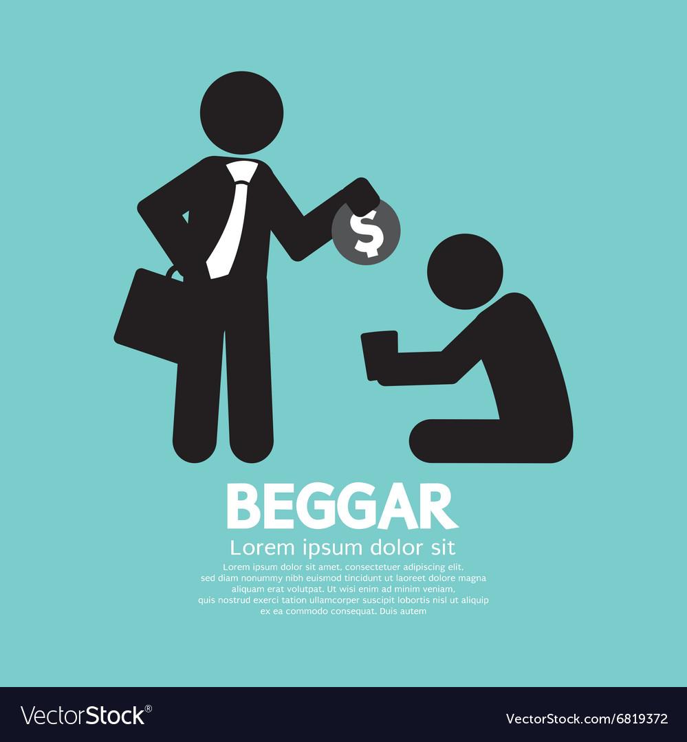 Businessman Donates Coin To The Beggar Illu