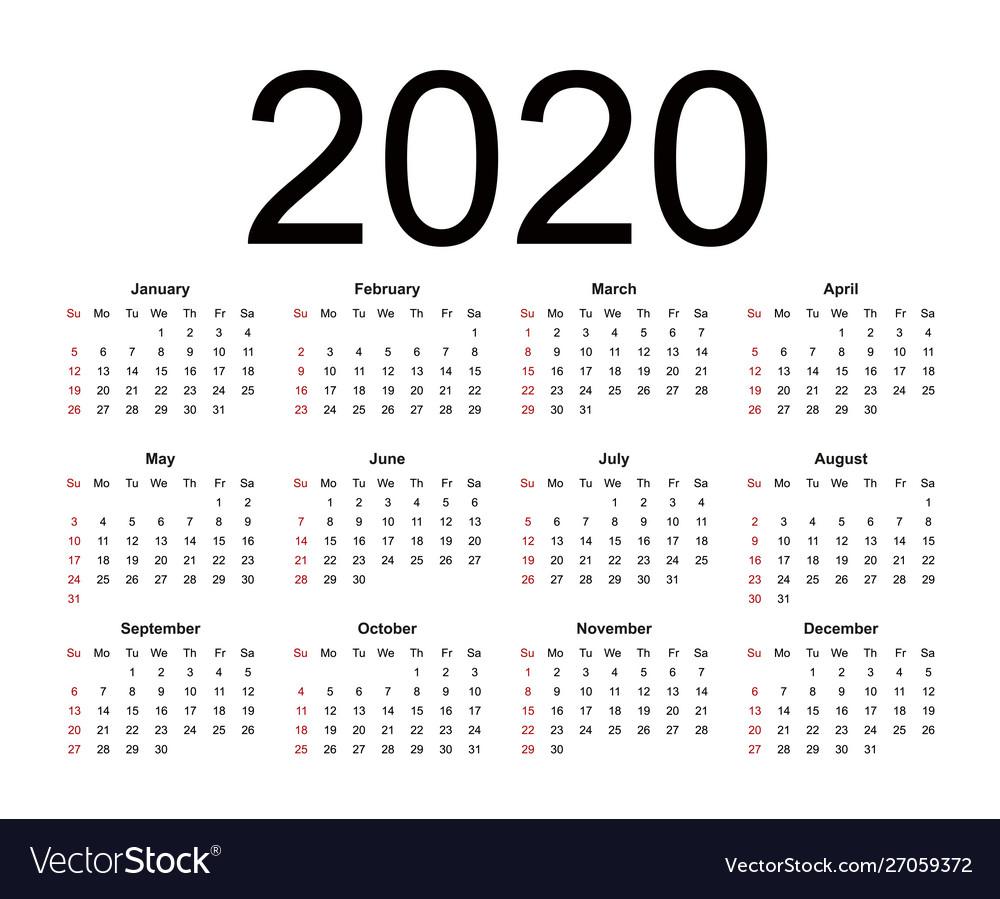 Calendar 20 week starts from sunday business Vector Image