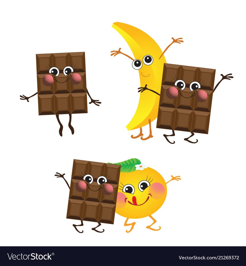 Chocolate banana orange characters
