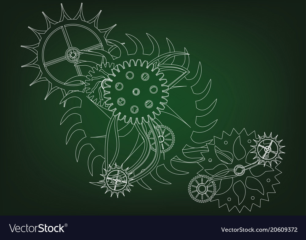 Cogwheels on a green