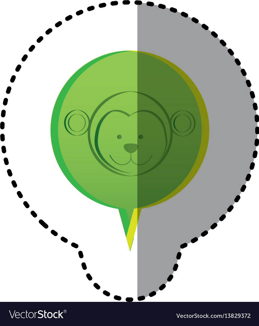 Color sticker with monkey face in circular speech