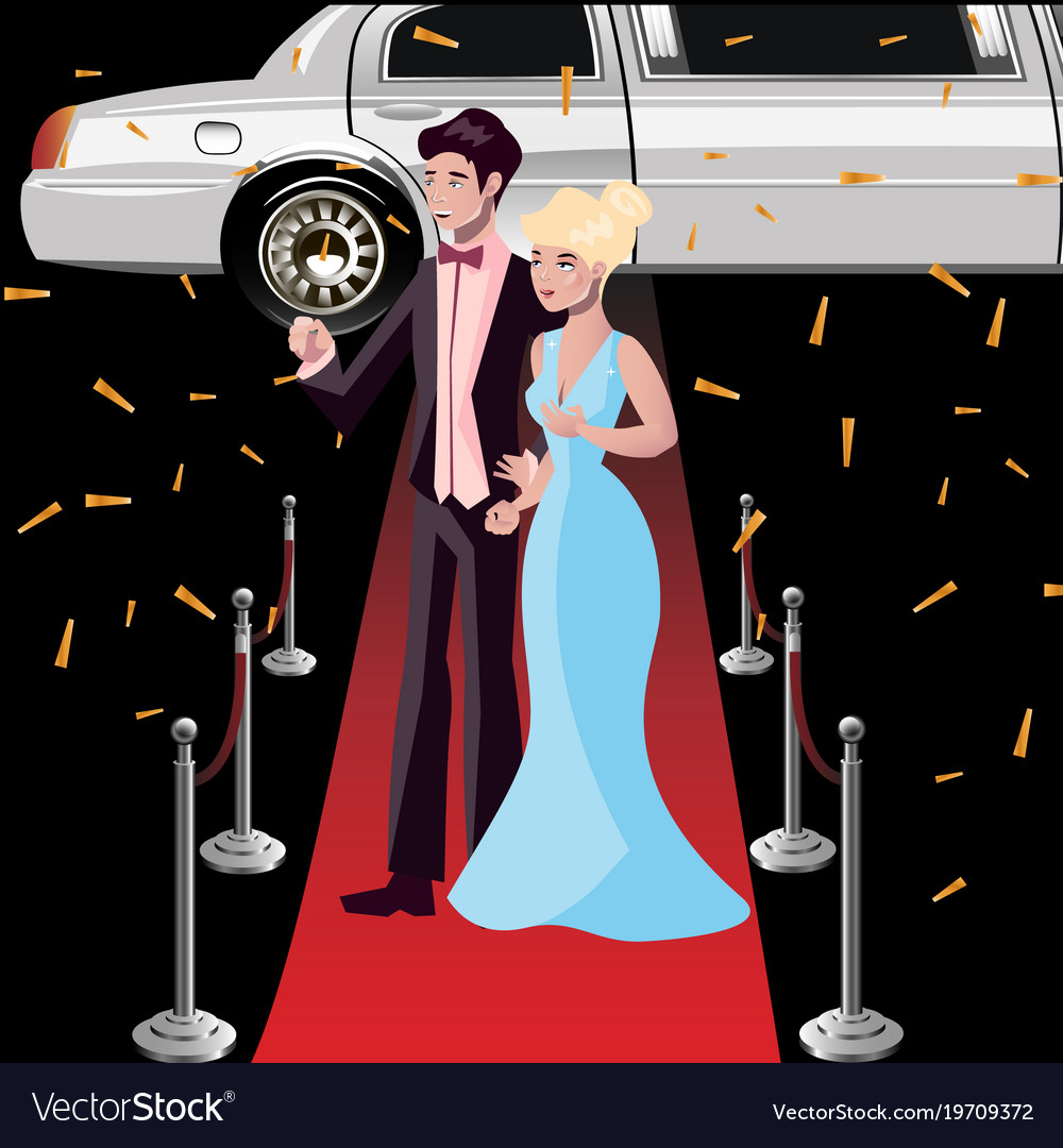 Couple Celebrities On The Red Carpet Royalty Free Vector