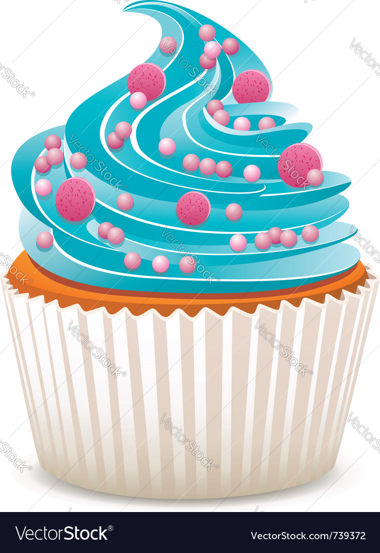 Cupcake with sprinkles vector image