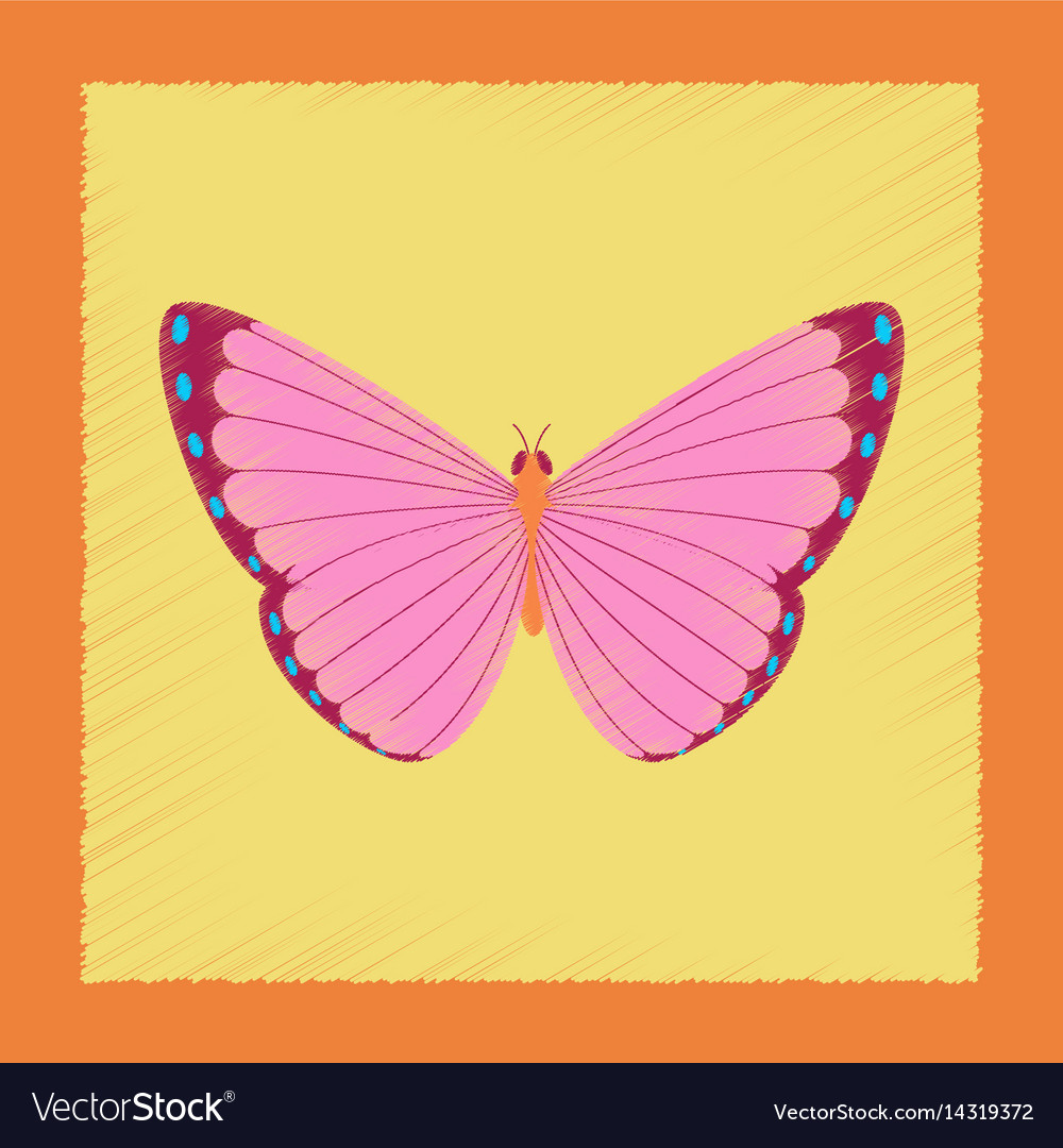 flat icon of bright red-black butterfly