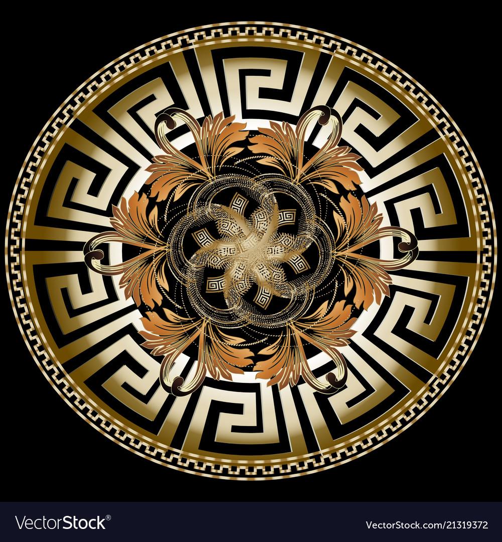 Ornate golden 3d greek mandala pattern with