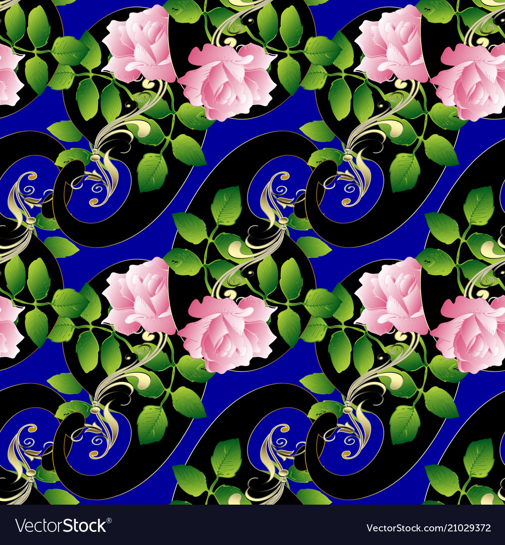 Paisleys seamless pattern floral blue background