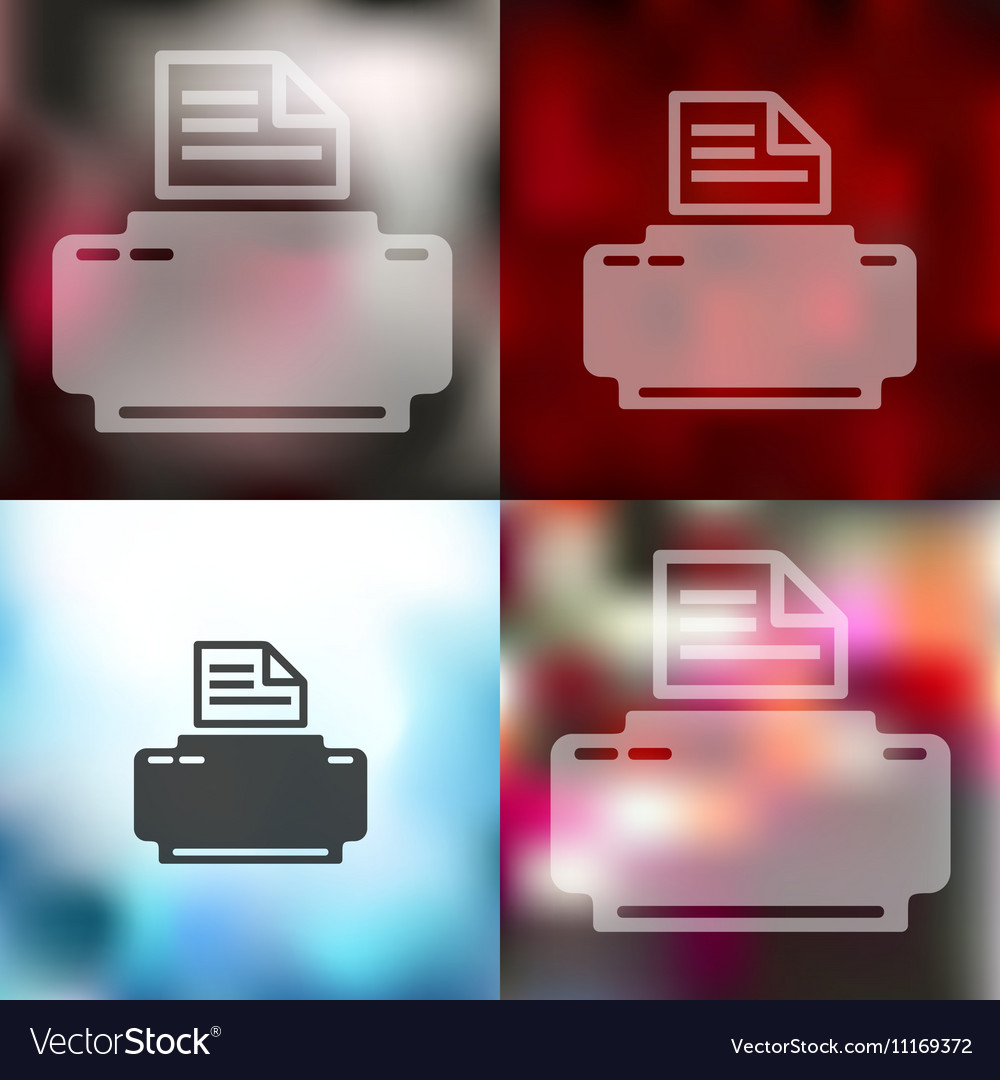 Printer icon on blurred background