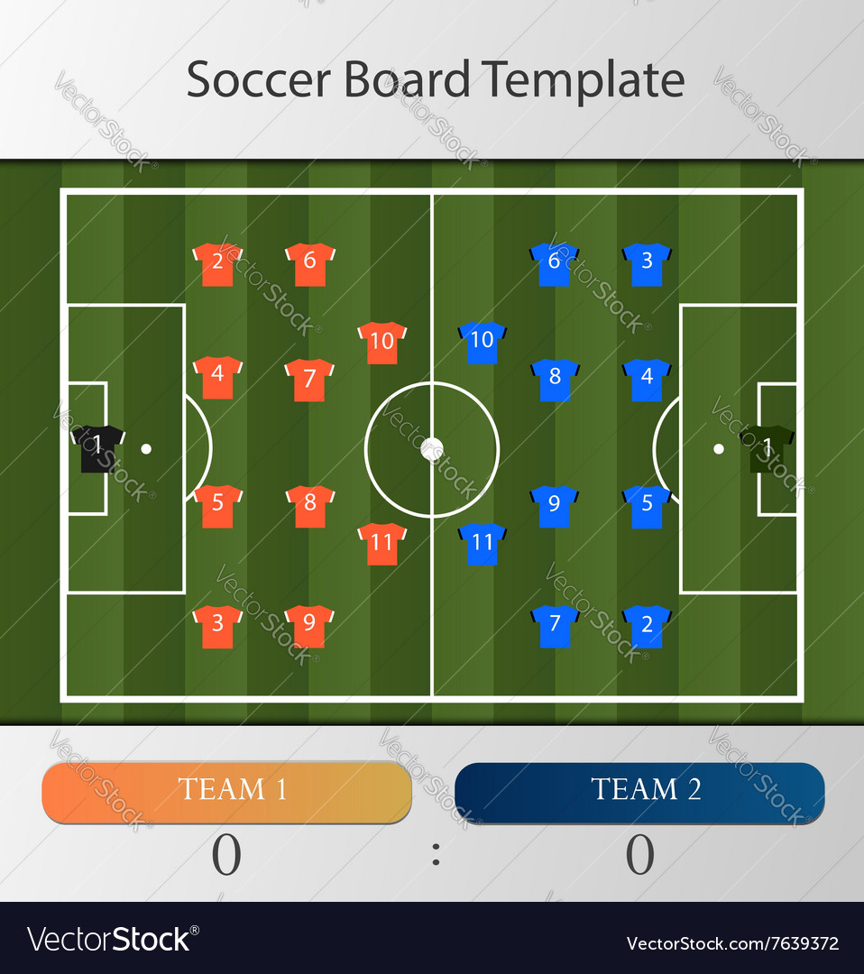 Soccer board template vector image