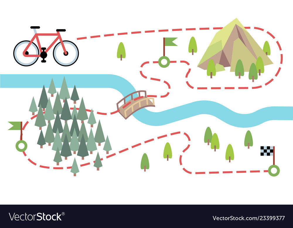 Bike route map cycling trip road country path