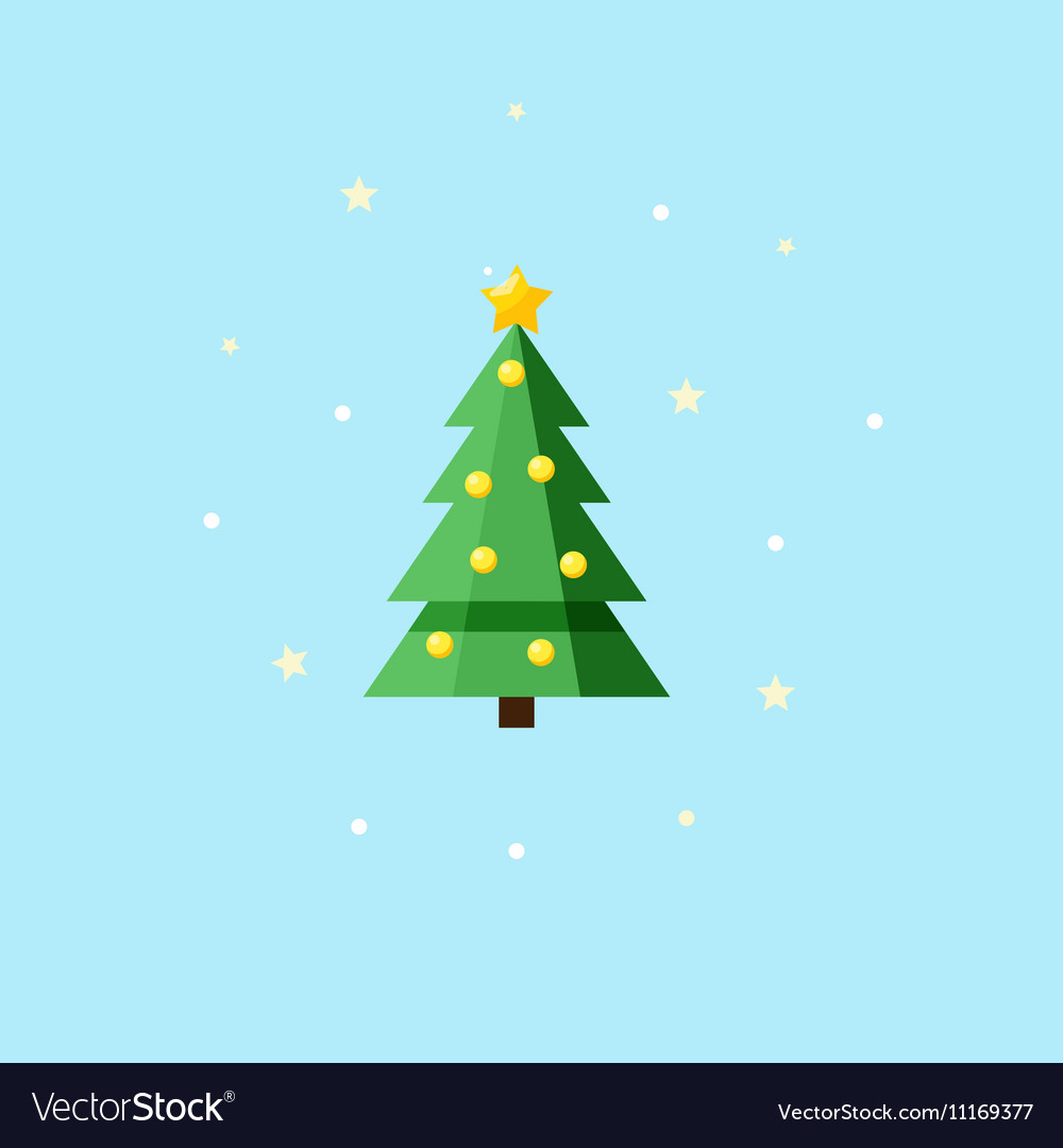 Christmas decorated fir-tree - Icon