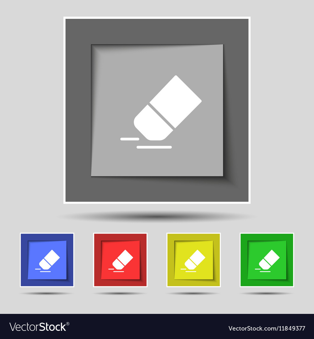 Eraser rubber icon sign on original five colored vector image