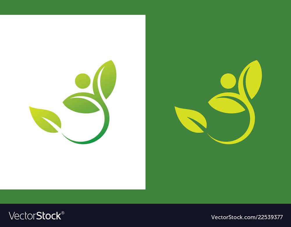 People green leaf nature logo