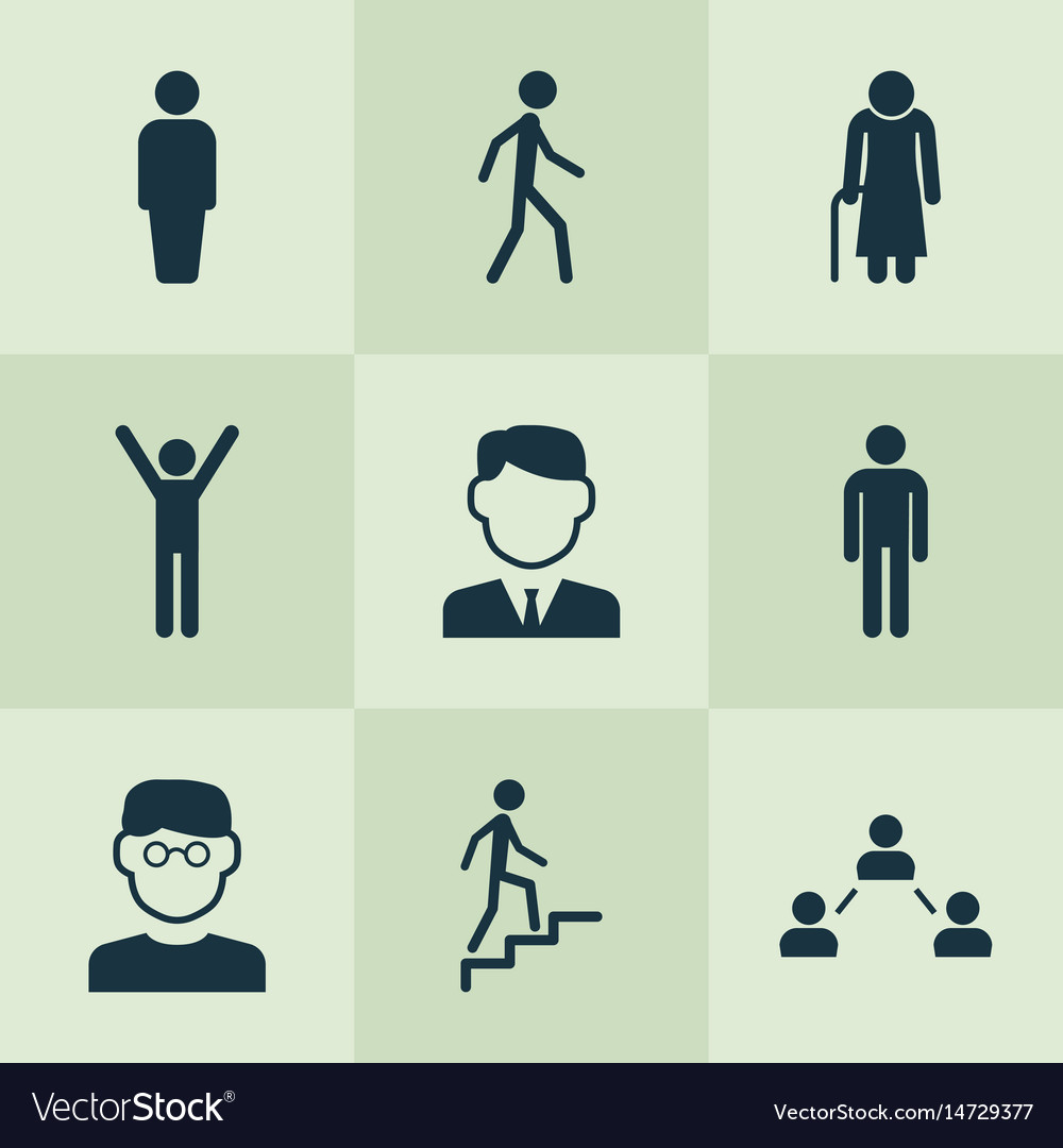 Person icons set collection of ladder scientist vector image