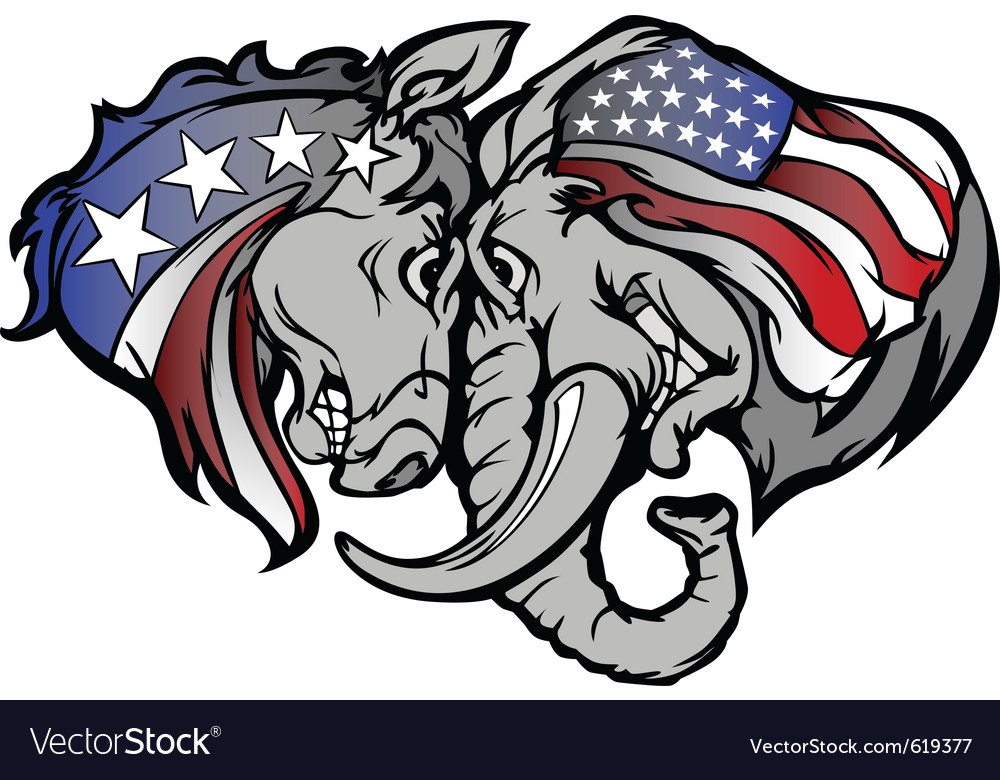 Political elephant and donkey cartoon vector image