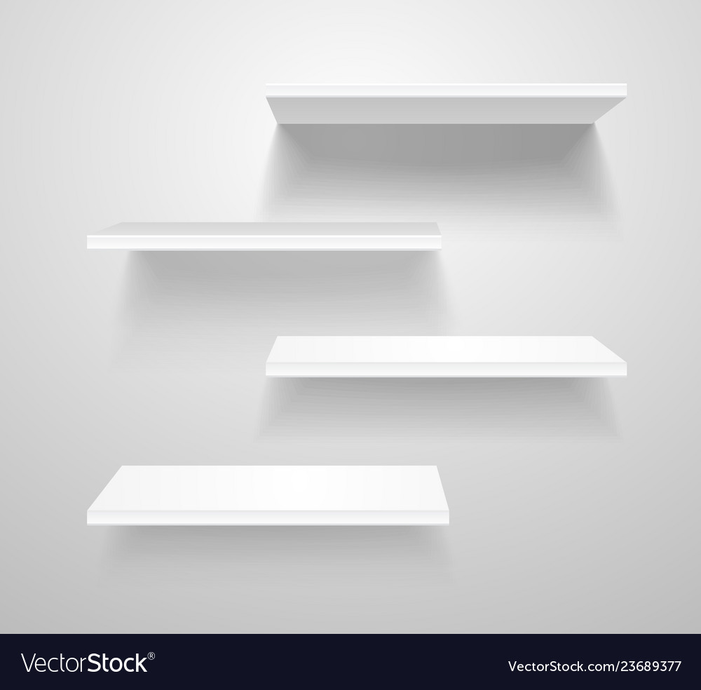 Realistic 3d detailed white blank shelves template