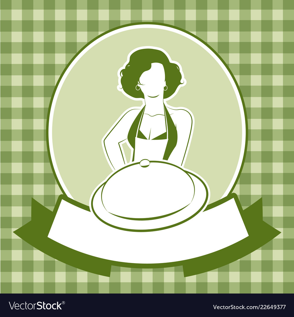 Retro housewife cook wearing apron carrying a
