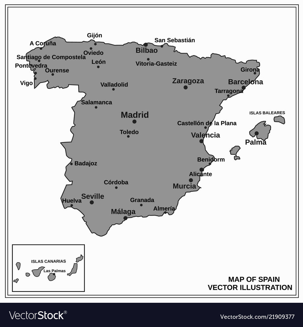 Gijon Spain Map.Spain Map Royalty Free Vector Image Vectorstock