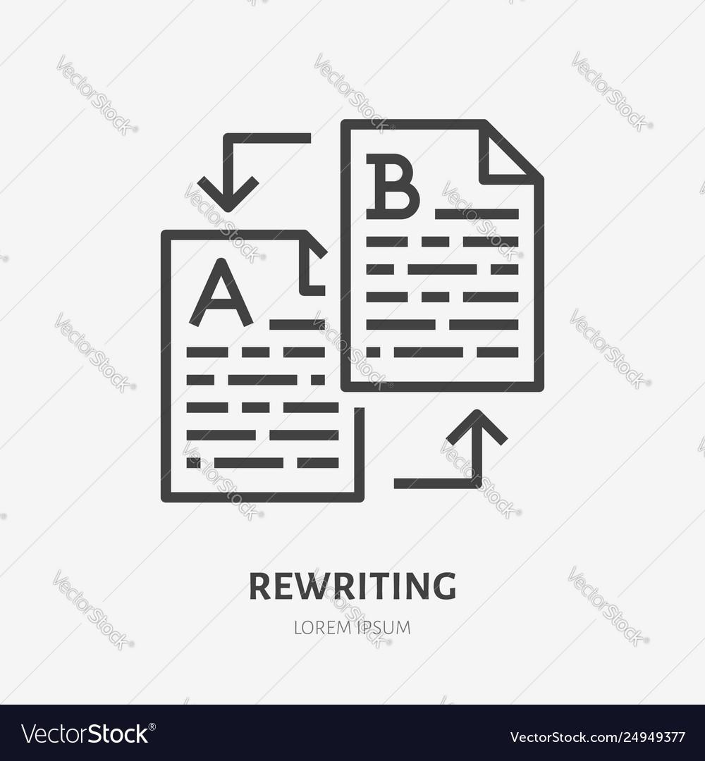 Text rewriting flat line icon translation