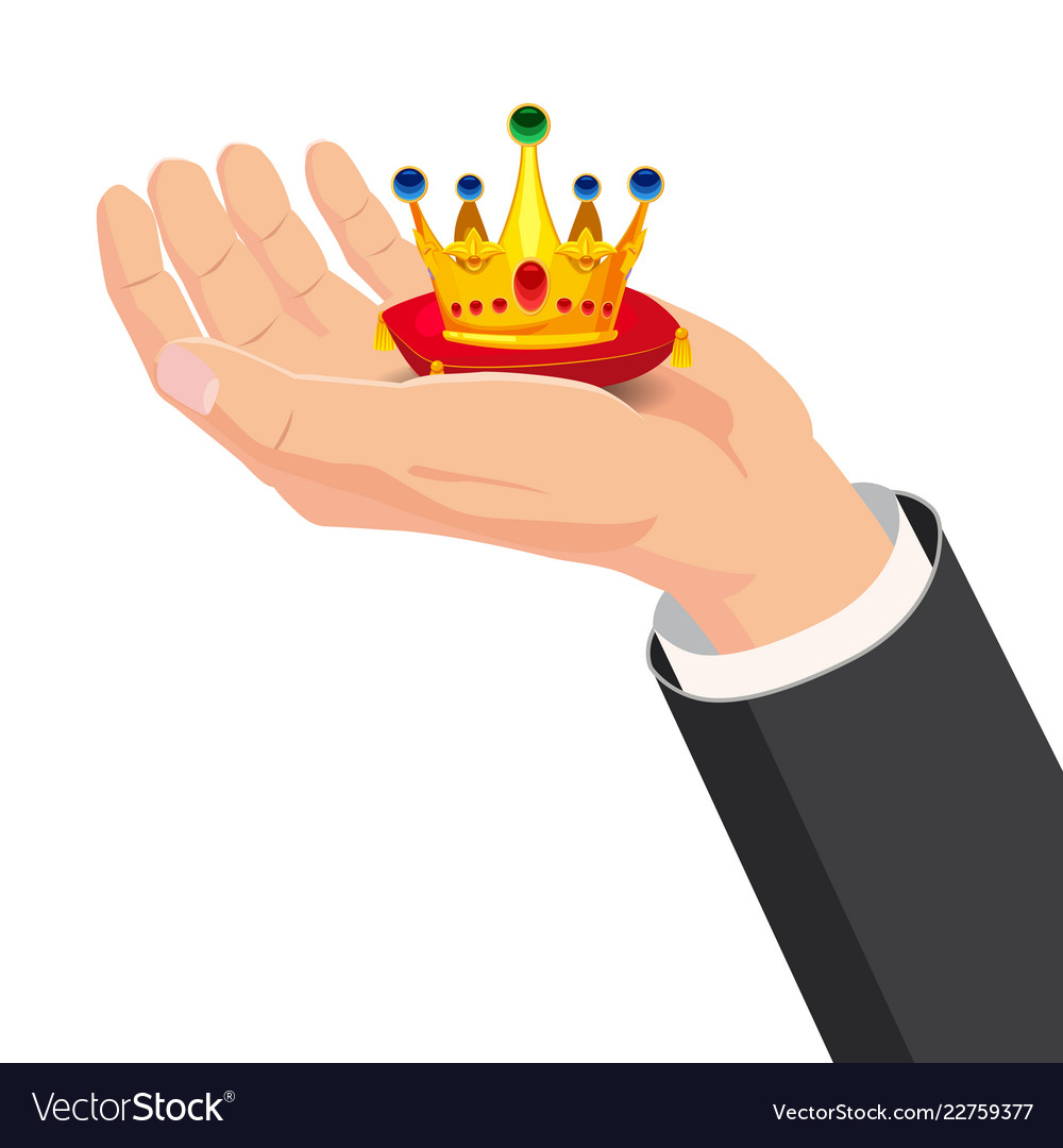 The hand that holds the crown gift cartoon style