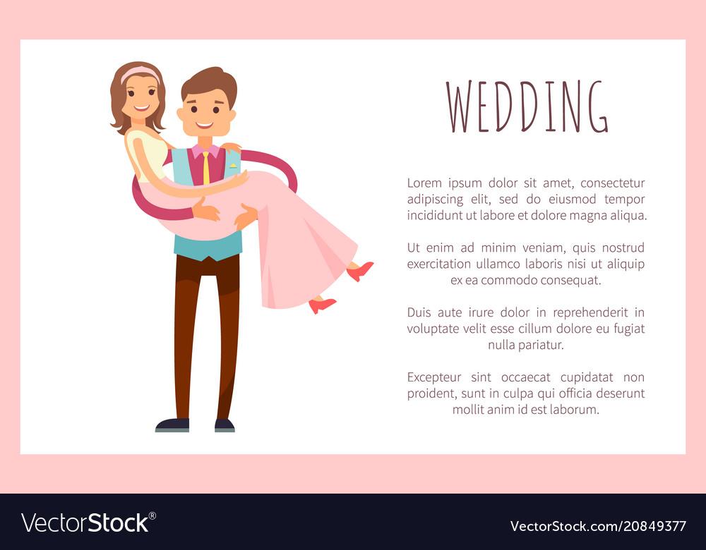 Wedding husband wife poster vector image