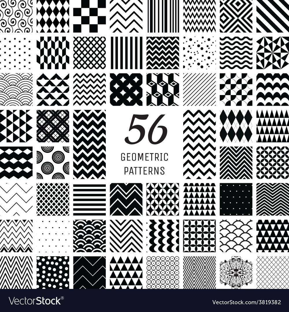 56 Geometric Seamless Patterns vector image